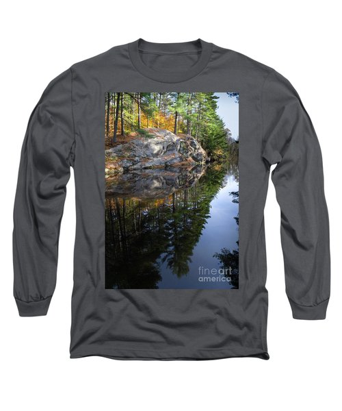 Autumn Reflections At Runaround Pond In Durham Maine  -20224 Long Sleeve T-Shirt