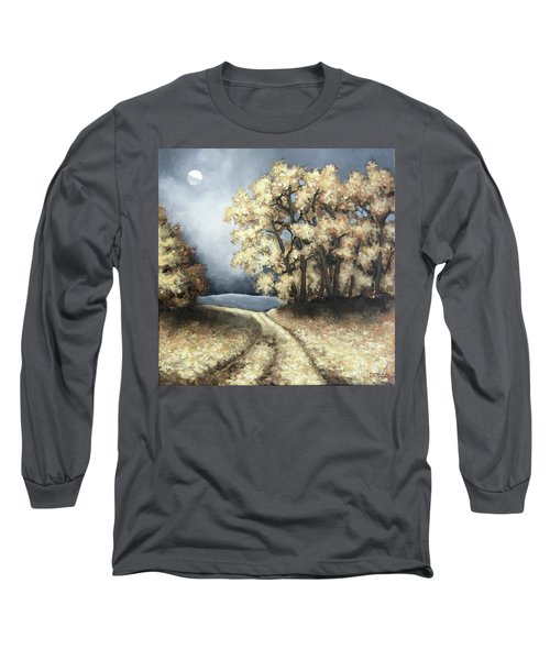 Long Sleeve T-Shirt featuring the painting Autumn Road by Inese Poga