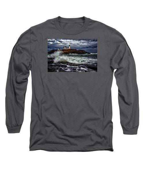 Autumn Storm At Cape Neddick Long Sleeve T-Shirt by Rick Berk