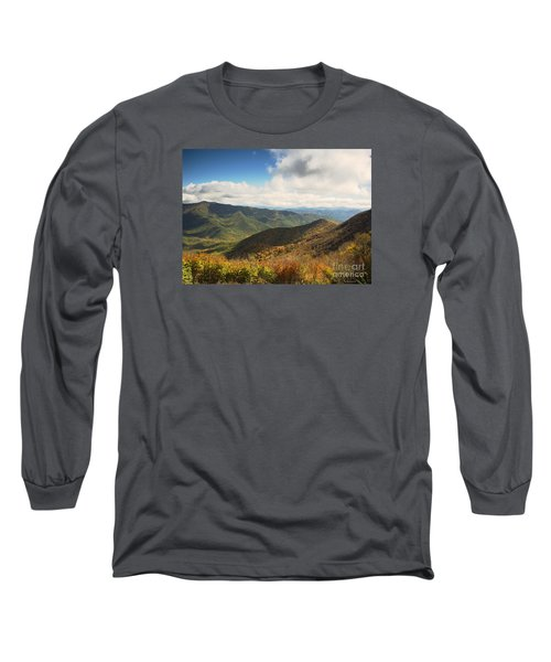 Autumn Storm Clouds Blue Ridge Parkway Long Sleeve T-Shirt by Nature Scapes Fine Art