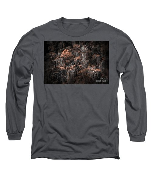 Autumn Trees Growing On Mountain Rocks Long Sleeve T-Shirt