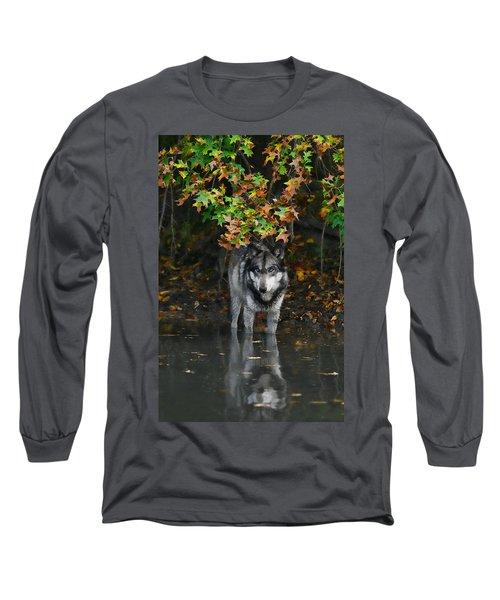 Autumn Wolf Long Sleeve T-Shirt by Shari Jardina