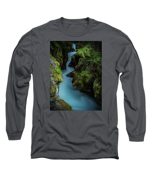 Avalanche Creek- Glacier National Park Long Sleeve T-Shirt by John Vose