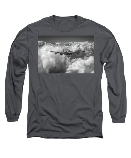 Long Sleeve T-Shirt featuring the photograph Avro Lancaster Above Clouds Bw Version by Gary Eason