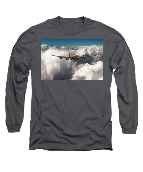 Long Sleeve T-Shirt featuring the photograph Avro Lancaster Above Clouds by Gary Eason