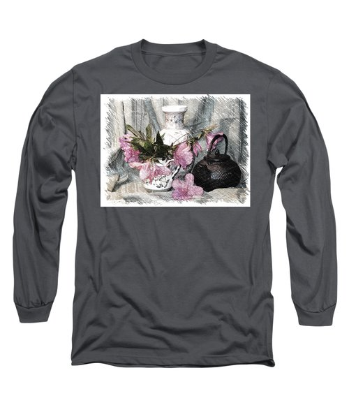 Azaleas And Teapot Long Sleeve T-Shirt
