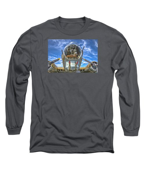 Long Sleeve T-Shirt featuring the photograph B 17 Up Close by Gary Slawsky