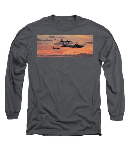Long Sleeve T-Shirt featuring the digital art B17 - Sunset Home by Pat Speirs