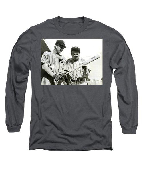 Babe Ruth And Lou Gehrig Long Sleeve T-Shirt by Jon Neidert