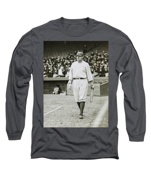 Babe Ruth Going To Bat Long Sleeve T-Shirt by Jon Neidert