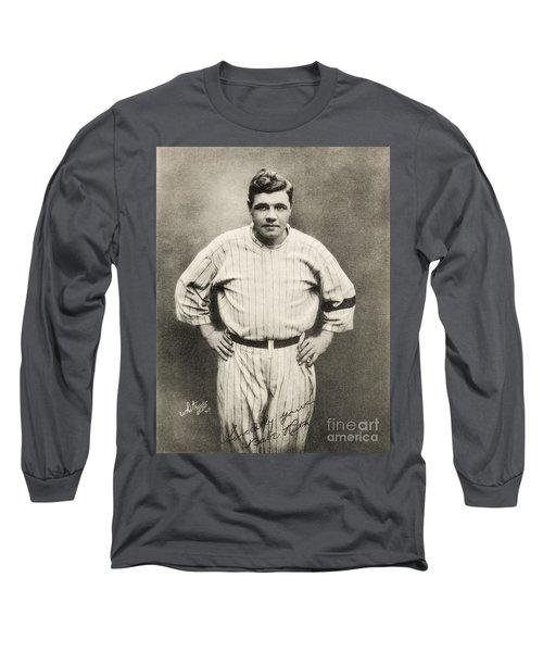 Babe Ruth Portrait Long Sleeve T-Shirt by Jon Neidert