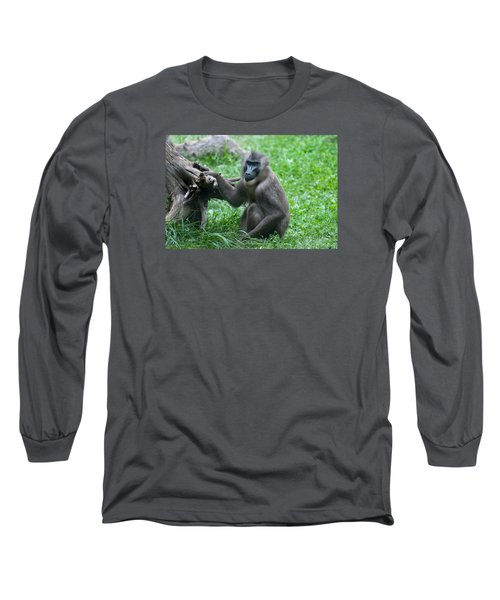 Long Sleeve T-Shirt featuring the photograph Baboon by Monte Stevens