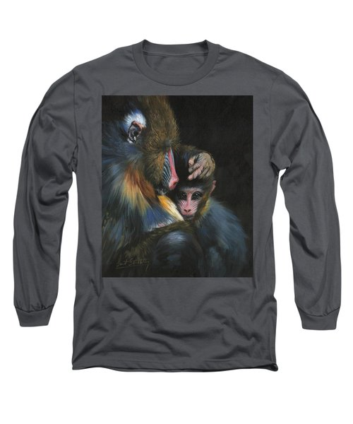 Long Sleeve T-Shirt featuring the painting Baboon Mother And Baby by David Stribbling