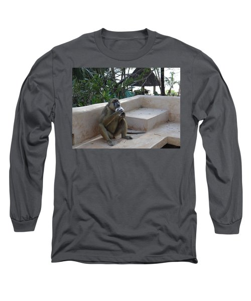 Baboon With A Sweet Tooth Long Sleeve T-Shirt