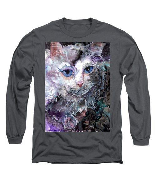 Long Sleeve T-Shirt featuring the painting Baby Blues by Sherry Shipley