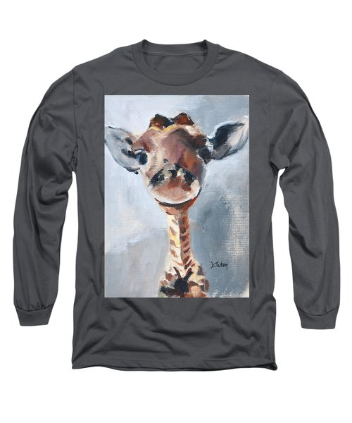 Baby Giraffe Safari Animal Painting Long Sleeve T-Shirt
