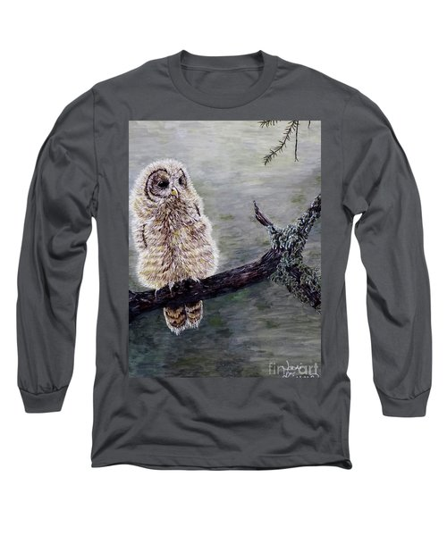 Long Sleeve T-Shirt featuring the painting Baby Owl by Judy Kirouac