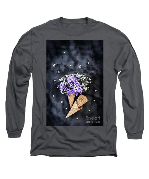 Baby's Breath And Violets Ice Cream Cones Long Sleeve T-Shirt by Stephanie Frey