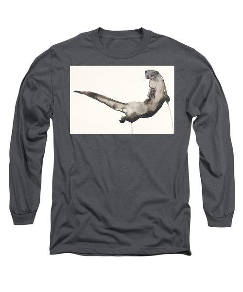 Back Awash   Otter Long Sleeve T-Shirt by Mark Adlington