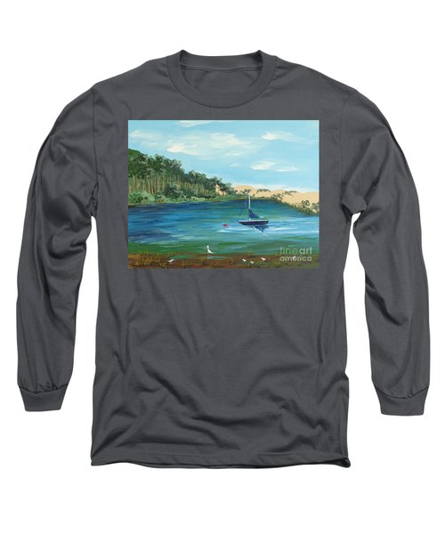 Long Sleeve T-Shirt featuring the painting Back Bay From Back Bay Inn Los Osos Ca by Katherine Young-Beck