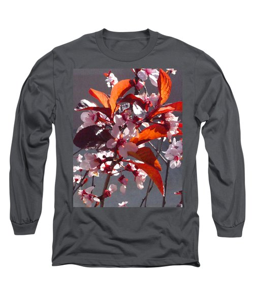 Backlit Pink Tree Blossoms Long Sleeve T-Shirt