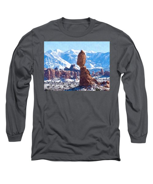 Long Sleeve T-Shirt featuring the digital art Balanced Rock  Arches National Park by Kai Saarto