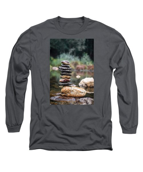 Balancing Zen Stones In Countryside River I Long Sleeve T-Shirt by Marco Oliveira