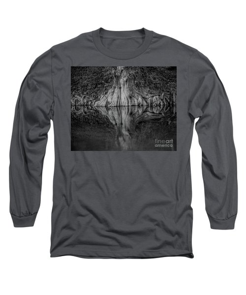 Bald Cypress Reflection In Black And White Long Sleeve T-Shirt