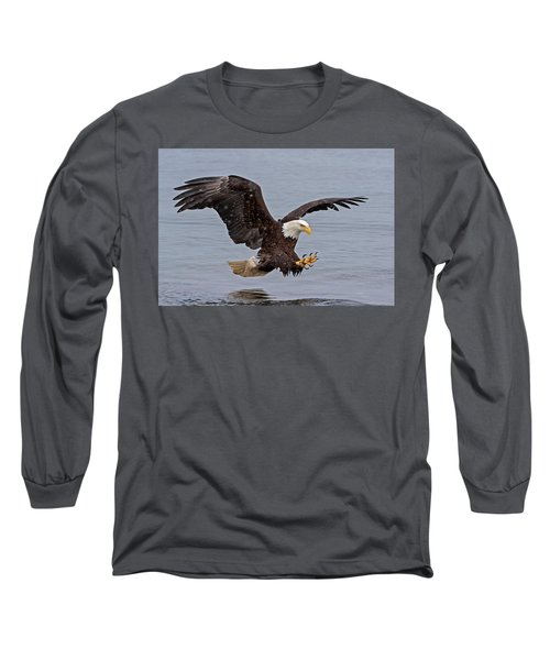 Bald Eagle Diving For Fish In Falling Snow Long Sleeve T-Shirt