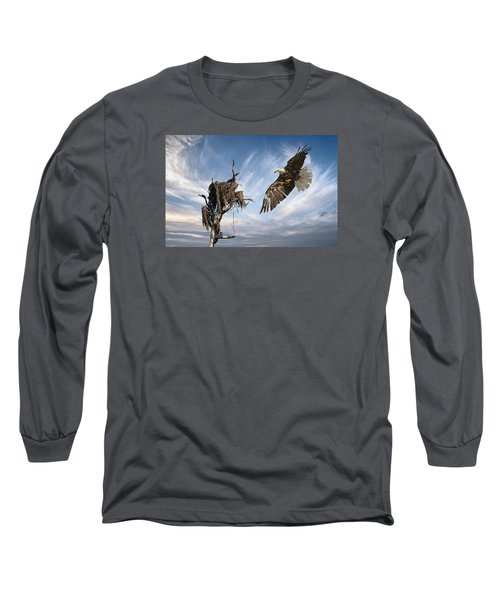 Long Sleeve T-Shirt featuring the photograph Bald Eagle Landing On Old Nest by Brian Tarr