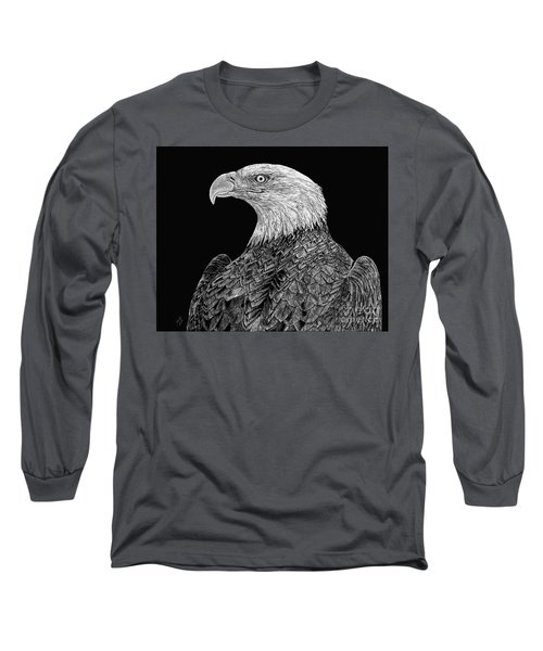 Bald Eagle Scratchboard Long Sleeve T-Shirt by Shevin Childers