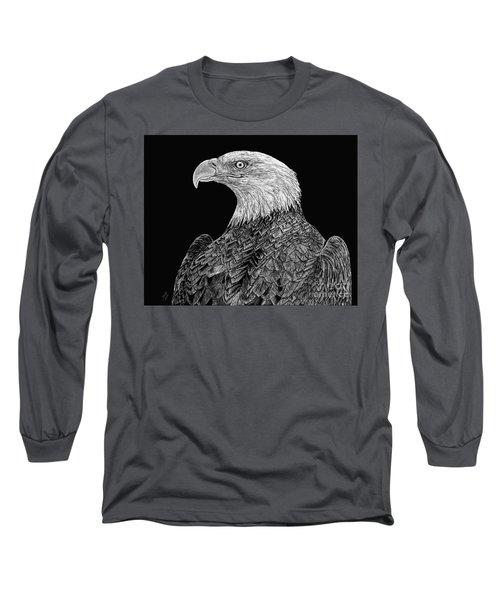 Bald Eagle Scratchboard Long Sleeve T-Shirt