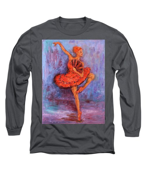 Long Sleeve T-Shirt featuring the painting Ballerina Dancing With A Fan by Xueling Zou