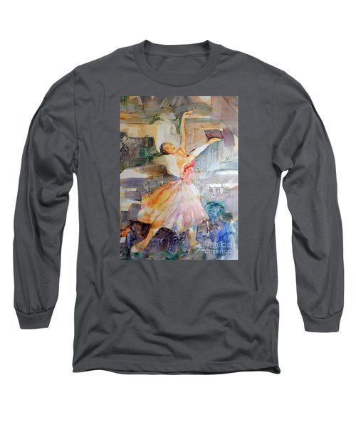 Ballerina In Motion Long Sleeve T-Shirt by Mary Haley-Rocks