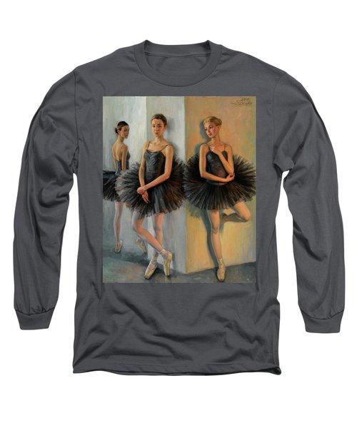 Ballerinas In Black Tutu Long Sleeve T-Shirt