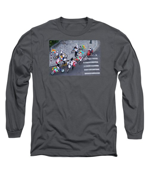 Long Sleeve T-Shirt featuring the photograph Balloons And Bikes by Cameron Wood