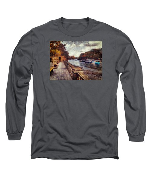 Long Sleeve T-Shirt featuring the digital art Balustrades And Boats by Leigh Kemp