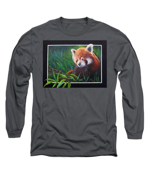 Bamboo Basking--red Panda Long Sleeve T-Shirt by Mary McCullah