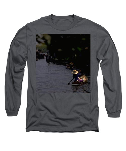 Long Sleeve T-Shirt featuring the photograph Bangkok Floating Market by Travel Pics
