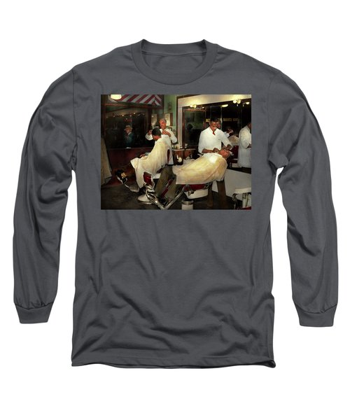 Long Sleeve T-Shirt featuring the photograph Barber - A Time Honored Tradition 1941 by Mike Savad