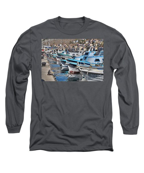 Harbour Of Simi Long Sleeve T-Shirt by Wilhelm Hufnagl