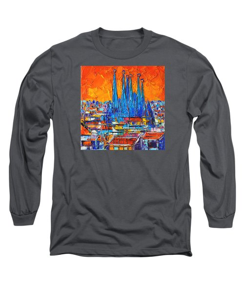 Barcelona Abstract Cityscape 7 - Sagrada Familia Long Sleeve T-Shirt
