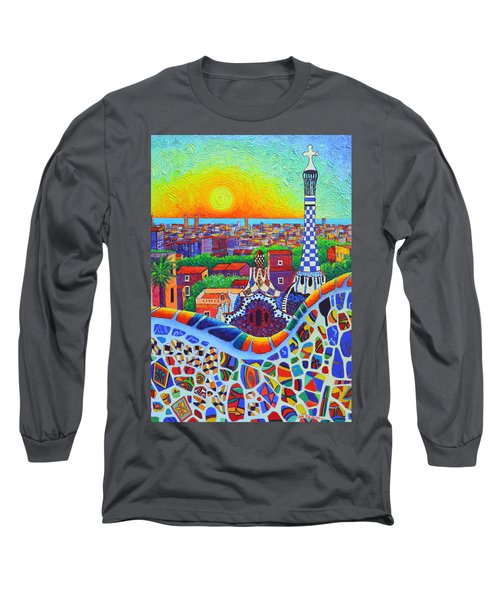 Barcelona Park Guell Sunrise Gaudi Tower Textural Impasto Knife Oil Painting By Ana Maria Edulescu Long Sleeve T-Shirt