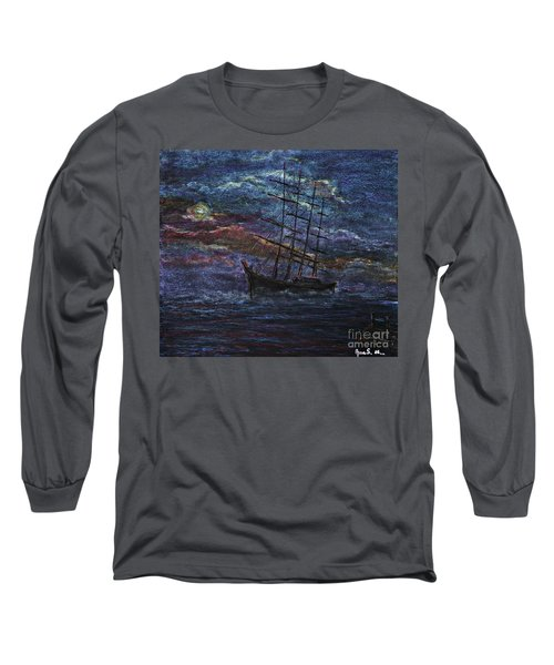 Barco Negro- Tribute To Amalia Rodrigues Long Sleeve T-Shirt by AmaS Art