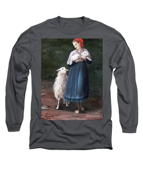 Long Sleeve T-Shirt featuring the painting Barefoot Shepherdess by Judy Kirouac