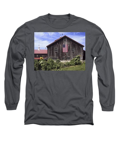Barn And American Flag Long Sleeve T-Shirt by Sally Weigand