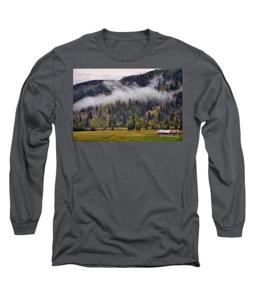 Barn In The Mist Long Sleeve T-Shirt