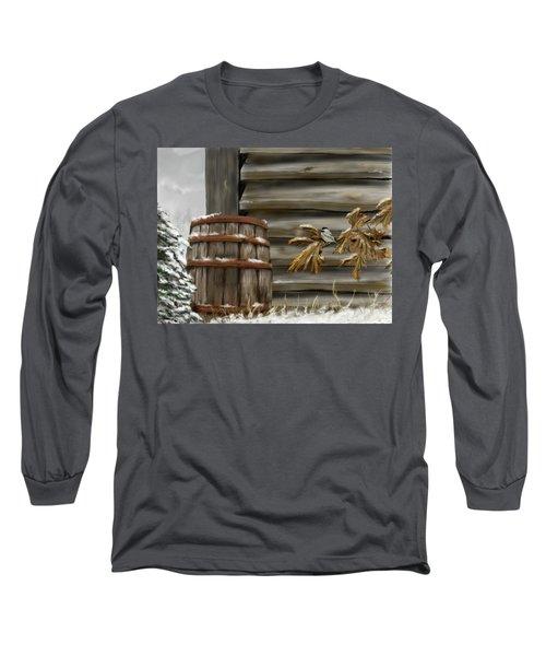 Long Sleeve T-Shirt featuring the digital art Barnyard Barrel And Chickadee by Darren Cannell