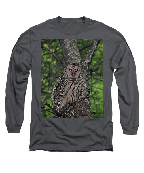Long Sleeve T-Shirt featuring the photograph Barred Owl 3 by Glenn Gordon