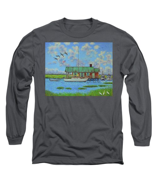 Barriar Island Boathouse Long Sleeve T-Shirt by Dwain Ray